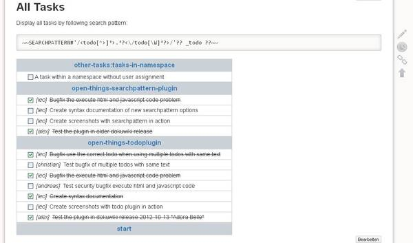 Ver. 2013-04-11 overview over all tasks on single page using searchpattern plugin